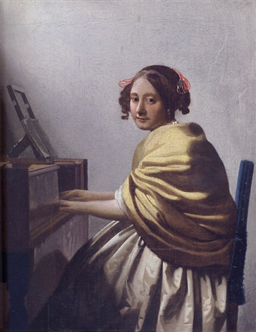 a young woman seated at the virginals by johannes van delft vermeer