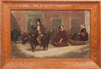 winter scene with figures on sled by american school (19)