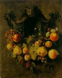 a swag of grapes, peaches, pears, apples and plums decorating a niche with a roemer by paul van den bosch