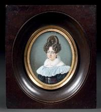 portrait de jeune femme en buste vers la gauche presque de face by alphonse de labroue