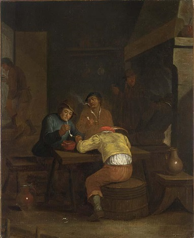 a tavern interior with peasants smoking and drinking by egbert van heemskerck the younger