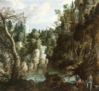 paysage boisé avec cascades et chasse au canard by paul bril