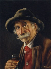 a bavarian gentleman drinking a glass of wine by hermine gartner