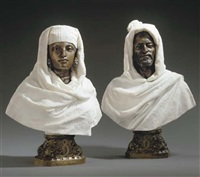 busts of a sheikh (+ bust of a sheikhah; pair) by pietro calvi