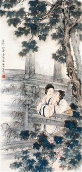 仕女双美钓鱼图 立轴 设色纸本 by deng fen