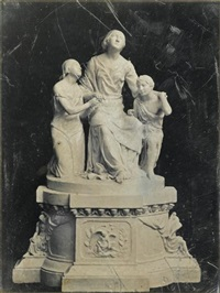 seated man (+ marble statue (from mount auburn cemetery?); 2 works) by southworth & hawes