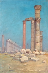 scenery with ancient ruins by eugen (cean) voinescu