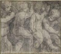 putti dancing with hoops: a cartoon for the cathedral in parma (on 6 joined sheets) by michelangelo anselmi