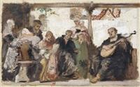 am marktplatz/ die vermählung/ luther im kreise seiner familie musizierend (3 works) by ernst hildebrand
