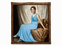 woman in blue dress by franz kienmayer