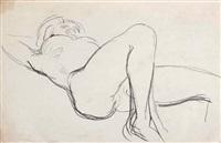 nu féminin allongé sure le dos, les jambes repliées, le bras gauche replié sous la tête by charles despiau