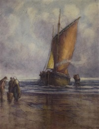 untitled- fishing vessels at shore by georges chavignaud