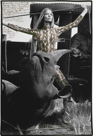 veruschka von lehndorf roping rhinos for eventual release at darajani tsavo park by peter beard