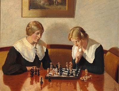 helga ancher and engel saxild playing chess in the home of the ancher family on markvej in skagen by michael peter ancher