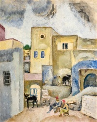 people and donkeys in an alley by arieh allweil