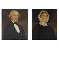 portraits of mr. greeley, explorer (+ mrs. greeley; 2 works) by william matthew prior