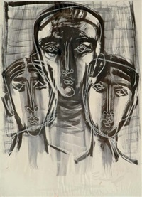 untitled - the three faces by zainul abedin