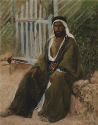 seated figure in oriental dress by lazar krestin