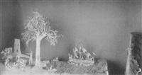 een driemaster op een rivier. links op de voorgrond figuren en een ruiter te paard, blauwe achtergrond by cornelis bavelaar