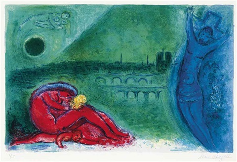 quai de la tournelle from regards sur paris by marc chagall