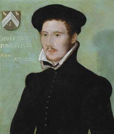 portrait of a gentleman half length in a black doublet and black cap by corneille de lyon