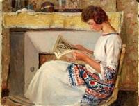jeune fille lisant by auguste leroux