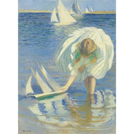 child and boat child with boat girl with sailboat by edmund charles tarbell