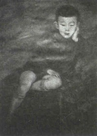 young seated oriental boy, dressed in short pants and sweater by dorothy hart drew