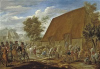 farmers threshing corn before a thatched barn by lambert de hondt