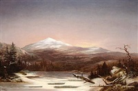 a lake and snow-coated mountains at sunset by frederick a. butman