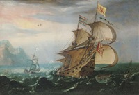 a dutch man-o'-war and other shipping in choppy seas by hendrik cornelisz vroom