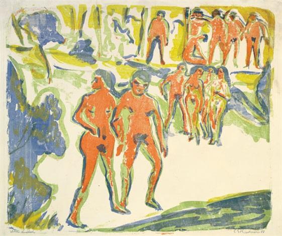gruppe badender sonntag in moritzburg badende by ernst ludwig kirchner