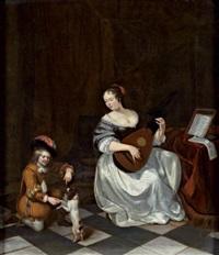 la luthiste et le jeune garçon jouant avec un chien by jacob ochtervelt