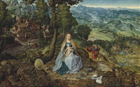 an extensive landscape with the rest on the flight into egypt by antwerp school
