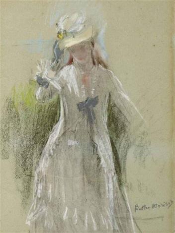 femme en gris debout by berthe morisot
