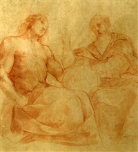 dieu le père et le fils (+ studies of angels, verso) by flaminio allegrini