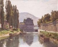 canal avec pêcheurs by marie-victor-emile isenbart