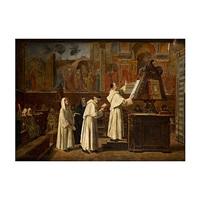monjes en el interior de la capilla tornabuoni de santa maria novella, florencia by i. mercade