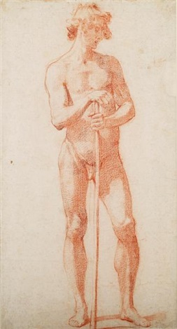 male nude with staff by jacopo da empoli chimenti