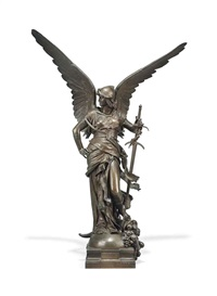 winged figure, entitled la paix armee by jules-felix coutan
