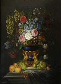 bouquet de fleurs (+ another; pair) by edouard joseph françois autrique