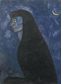 femme de profil au croissant de lune by léon spilliaert