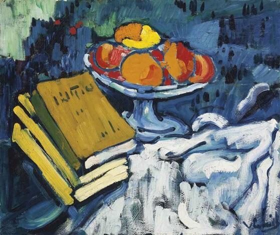 nature morte aux livres et au compotier by maurice de vlaminck