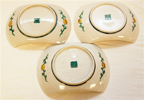 three japanese imari porcelain crescent dishes