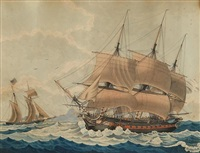 a french man o' war in company with a u.s. brig off cape horn by louis françois prosper roux