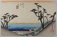 série des 53 stations de la route du tokaido. planche 33 - shirasuka by ando hiroshige