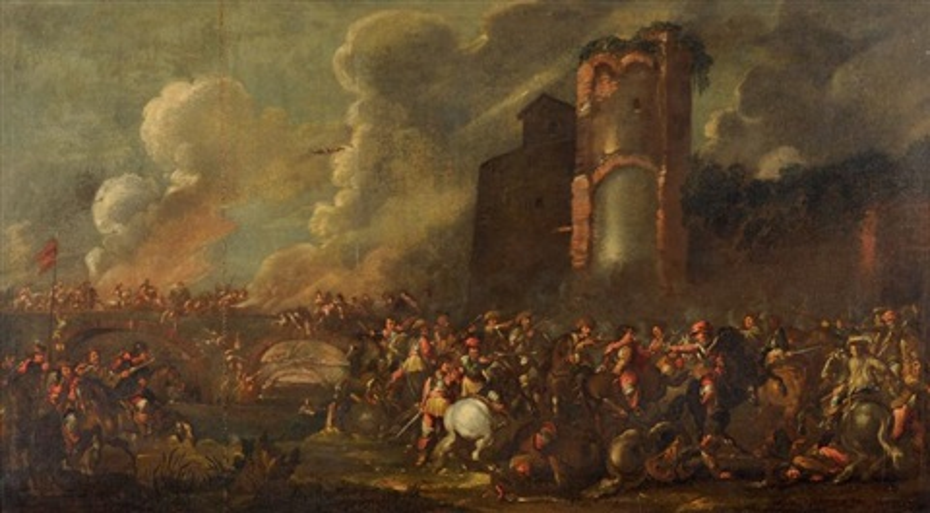 choc de cavalerie près dune tour en ruine by cornelis de wael