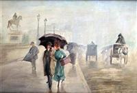 temps de pluie sur le pont neuf à paris by léonie le bas