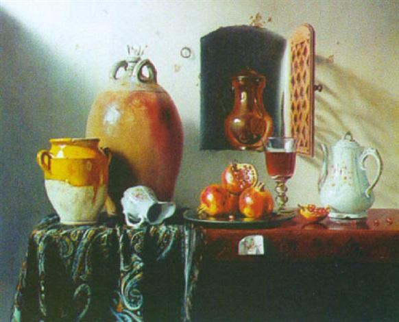 grenades cafetière et verre de vin by pierre raser