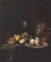 peaches on a salver with a pomegranate, grapes, a pear and a wine glass, with a casket and grapes on a draped ledge by johannes borman